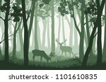 vector green forest landscape... | Shutterstock .eps vector #1101610835