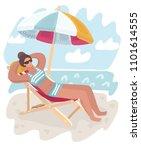 elegant woman in hat lying on... | Shutterstock .eps vector #1101614555