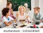 school teacher. nice delighted... | Shutterstock . vector #1101618365