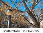 antique streetlamp on blue sky... | Shutterstock . vector #1101620222