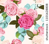 seamless pattern with roses | Shutterstock .eps vector #1101628808