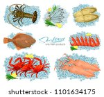 seafood in cartoon style. icons.... | Shutterstock .eps vector #1101634175