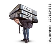 man carrying a giant stack of... | Shutterstock . vector #1101634586