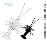 silhouette spiny lobster.... | Shutterstock .eps vector #1101635942