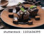 chocolate brownie cake  dessert ... | Shutterstock . vector #1101636395