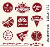 Vector Set  Pizza Pie Labels...
