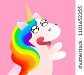 cute comic unicorn emotion... | Shutterstock .eps vector #1101652355