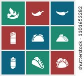 spicy icon. collection of 9... | Shutterstock .eps vector #1101653282