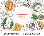 breakfasts top view frame....   Shutterstock .eps vector #1101653735