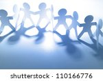 team of paper doll people | Shutterstock . vector #110166776