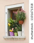 mediterranean window with... | Shutterstock . vector #1101671318