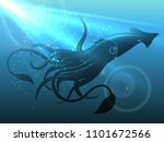 giant squid in deep water.... | Shutterstock .eps vector #1101672566