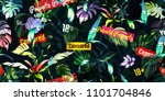 wide seamless floral background ... | Shutterstock .eps vector #1101704846