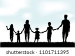 vector silhouette of family. | Shutterstock .eps vector #1101711395