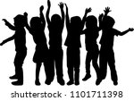 vector silhouette of children... | Shutterstock .eps vector #1101711398