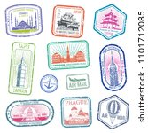 vintage travel stamps with... | Shutterstock . vector #1101712085