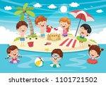 vector illustration of kids... | Shutterstock .eps vector #1101721502