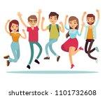 jumping young happy people in... | Shutterstock . vector #1101732608
