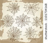 cobweb set on grunge vintage... | Shutterstock . vector #1101734168