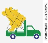 truck carrying brazil map.... | Shutterstock .eps vector #1101735092