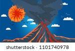 volcano in the background of...   Shutterstock .eps vector #1101740978