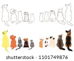 cats and dogs looking up... | Shutterstock .eps vector #1101749876