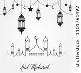 eid mubarak greeting card for... | Shutterstock .eps vector #1101761492
