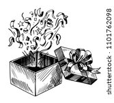 open gift box. hand drawn... | Shutterstock .eps vector #1101762098
