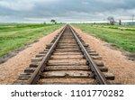 railroad tracks in a prairie of ... | Shutterstock . vector #1101770282