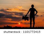 girl with teddy bear at sunset. ... | Shutterstock . vector #1101772415