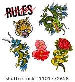 set trendy design embroidered... | Shutterstock .eps vector #1101772658