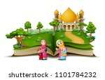 open book with a group of... | Shutterstock .eps vector #1101784232