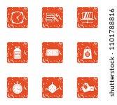 dimensional icons set. grunge...   Shutterstock .eps vector #1101788816