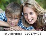 happy children lying on green... | Shutterstock . vector #110179478