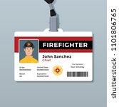 firefighter id badge template | Shutterstock .eps vector #1101806765