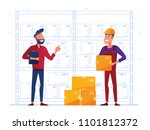 warehouse workers are storing... | Shutterstock .eps vector #1101812372