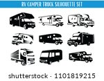 rv camper and truck silhouette...   Shutterstock .eps vector #1101819215