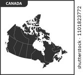 the detailed map of the canada... | Shutterstock . vector #1101823772
