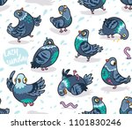 funny cute pigeons seamless...   Shutterstock .eps vector #1101830246