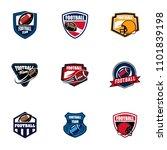 set of vector american football ... | Shutterstock .eps vector #1101839198