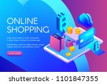online shopping vector... | Shutterstock .eps vector #1101847355