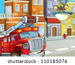 the red firetruck is talking to ... | Shutterstock . vector #110185076