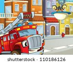 the red firetruck waiting for... | Shutterstock . vector #110186126