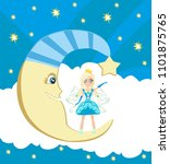 fairy on moon | Shutterstock .eps vector #1101875765