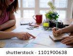 young couple planning honeymoon ... | Shutterstock . vector #1101900638