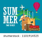 travel suitcase with different... | Shutterstock .eps vector #1101914525