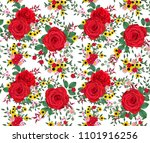 floral seamless pattern. red... | Shutterstock . vector #1101916256