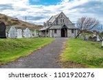 Small photo of LLANDUDNO / WALES, UK - APRIL 22 2018 : St Tudno's church and cemetery on the Great Orme at Llandudno, Wales, UK.