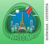 welcome to paris travel concept ...   Shutterstock .eps vector #1101934916