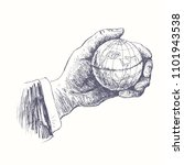 hand holding globe. small world ... | Shutterstock .eps vector #1101943538
